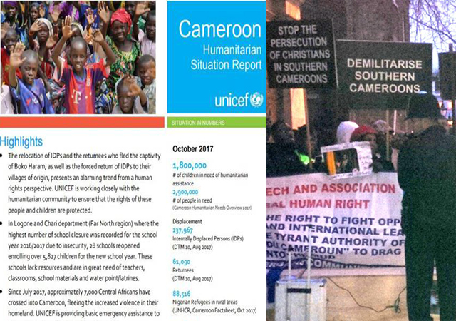 UNICEF update on Cameroon and Cameroon protest outside Marlborough House