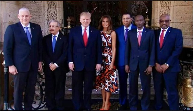 Five Caribbean leaders with Donald Trump in March 2019